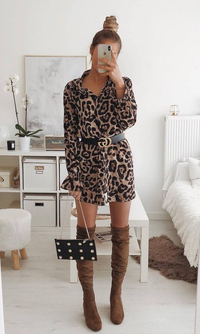 What To Wear With A Leopard Dress Belt Bag Brown Over