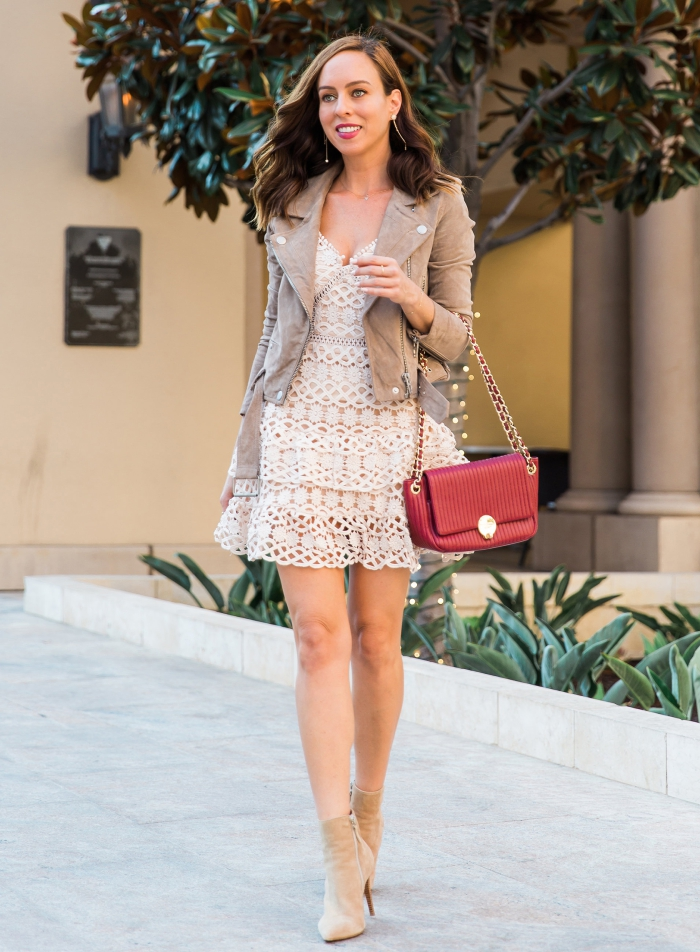 Sydne Style Shows How To Wear A Lace Dress In Fall With Suede Moto